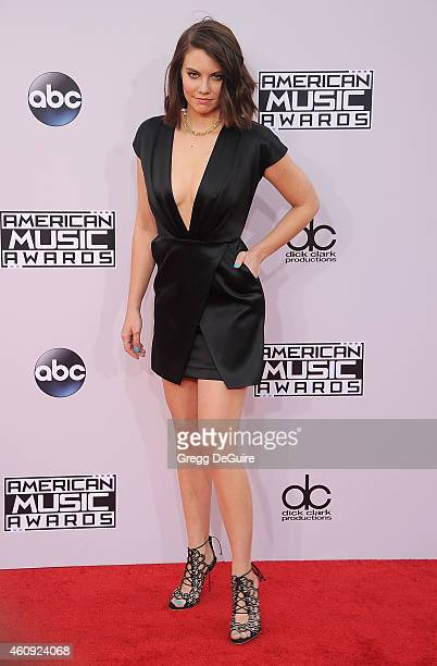 Actress Lauren Cohan arrives at the 2014 American Music Awards at Nokia Theatre LA Live on November 23 2014 in Los Angeles California