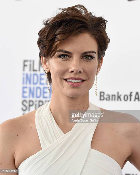 Actress Lauren Cohan arrives at the 2016 Film Independent Spirit Awards on February 27 2016 in Los Angeles California