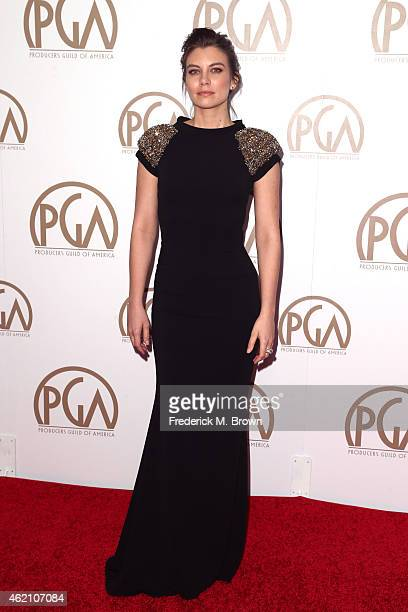 Actress Lauren Cohan attends the 26th Annual Producers Guild Of America Awards at the Hyatt Regency Century Plaza on January 24 2015 in Los Angeles...