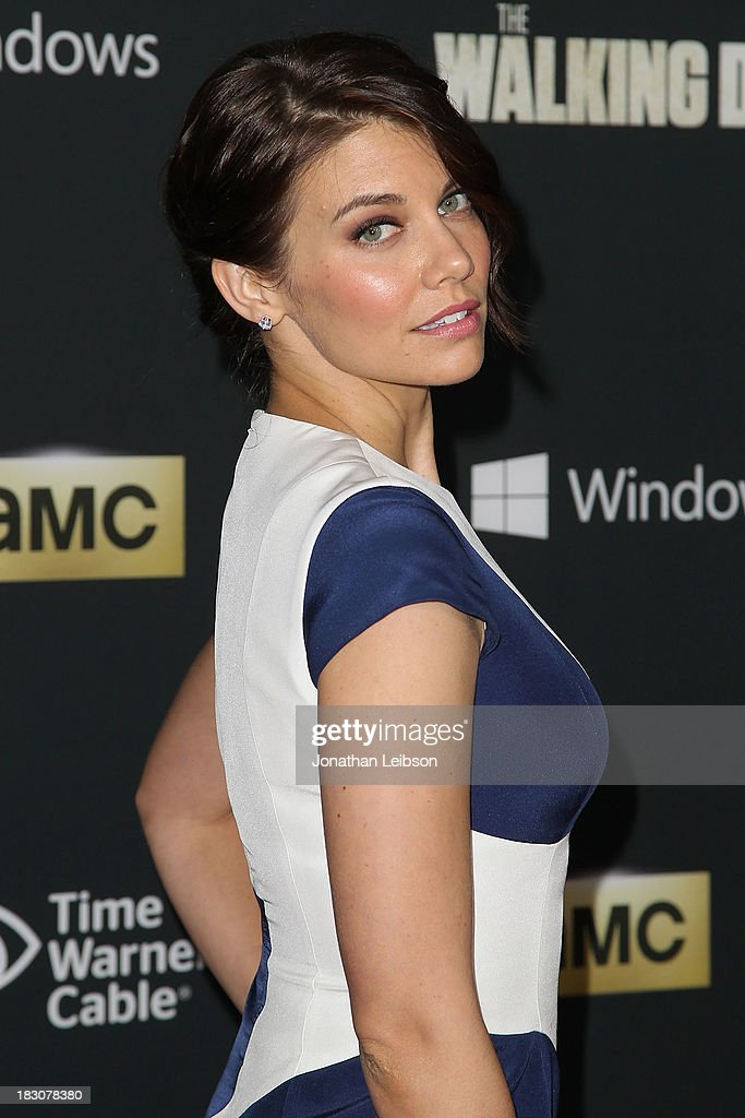 Actress <a gi-track='captionPersonalityLinkClicked' href=/galleries/search?phrase=Lauren+Cohan&family=editorial&specificpeople=4421688 ng-click='$event.stopPropagation()'>Lauren Cohan</a> attends the AMC's 'The Walking Dead' - Season 4 Premiere Party at AMC Universal City Walk on October 3, 2013 in Universal City, California.