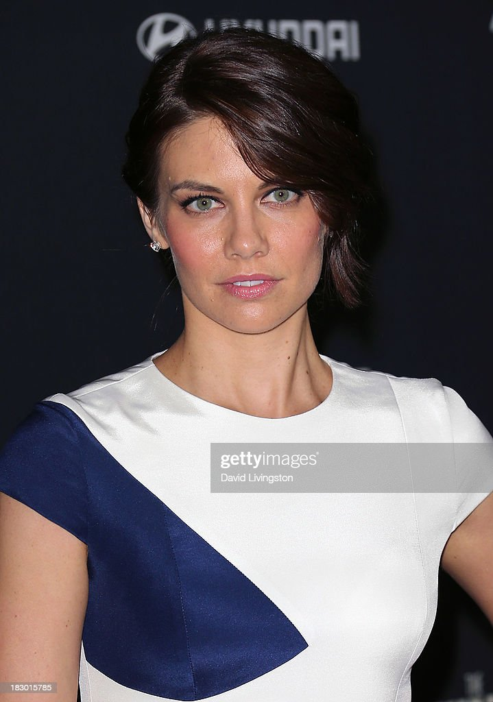 Actress <a gi-track='captionPersonalityLinkClicked' href=/galleries/search?phrase=Lauren+Cohan&family=editorial&specificpeople=4421688 ng-click='$event.stopPropagation()'>Lauren Cohan</a> attends the premiere of AMC's 'The Walking Dead' 4th Season at Universal CityWalk on October 3, 2013 in Universal City, California.
