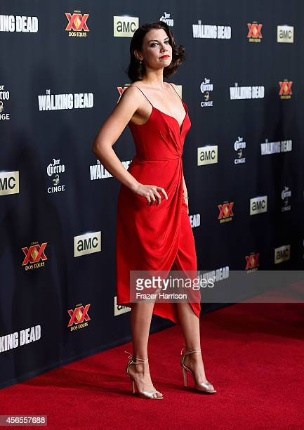 Actress Lauren Cohan attends the season 5 premiere of 'The Walking Dead' at AMC Universal City Walk on October 2 2014 in Universal City California