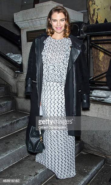Actress Lauren Cohan is seen leaving Marc Jacobs fashion show during MercedesBenz Fashion Week Fall 2015 at Park Avenue Armory on February 19 2015 in...