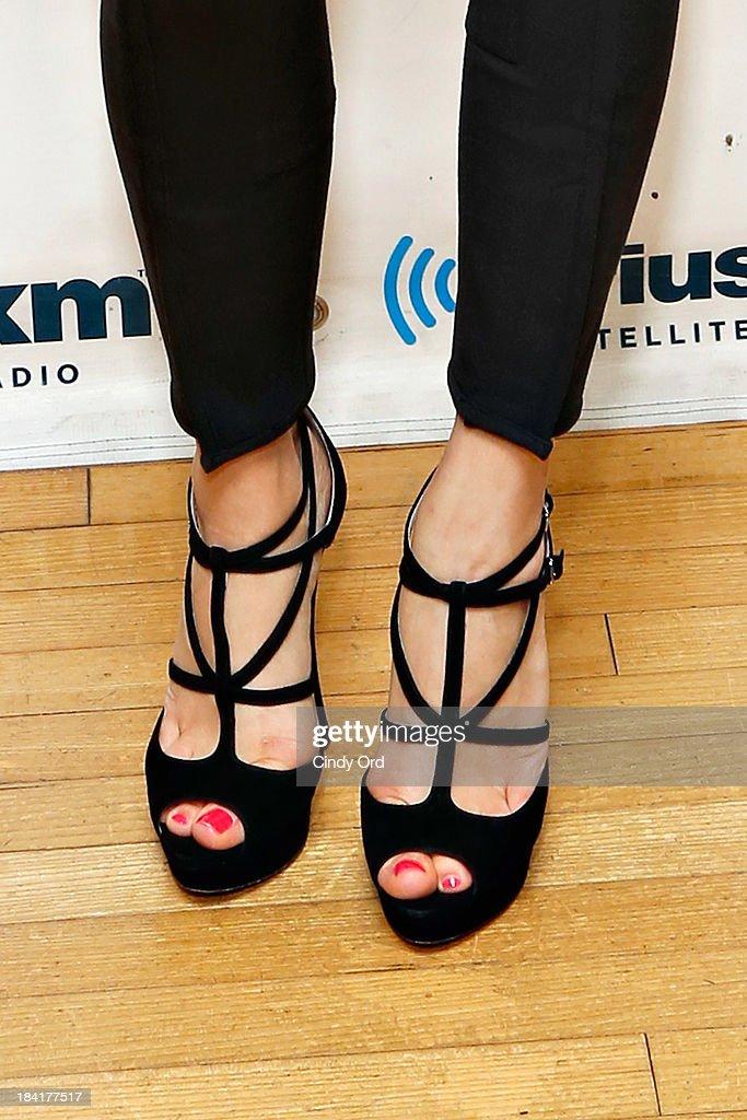 Actress Lauren Cohan (shoe detail) visits the SiriusXM Studios on October 11, 2013 in New York City.