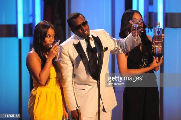 Actress Lauren London and Producer Sean 'Diddy' Combs on stage during the 2008 BET Awards at the Shrine Auditorium on June 24 2008 in Los Angeles...