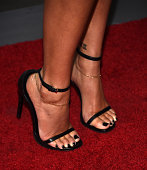 Actress Lauren London shoe detail arrives at the premiere of Lionsgate's 'The Perfect Match' at ArcLight Hollywood on March 7 2016 in Hollywood...