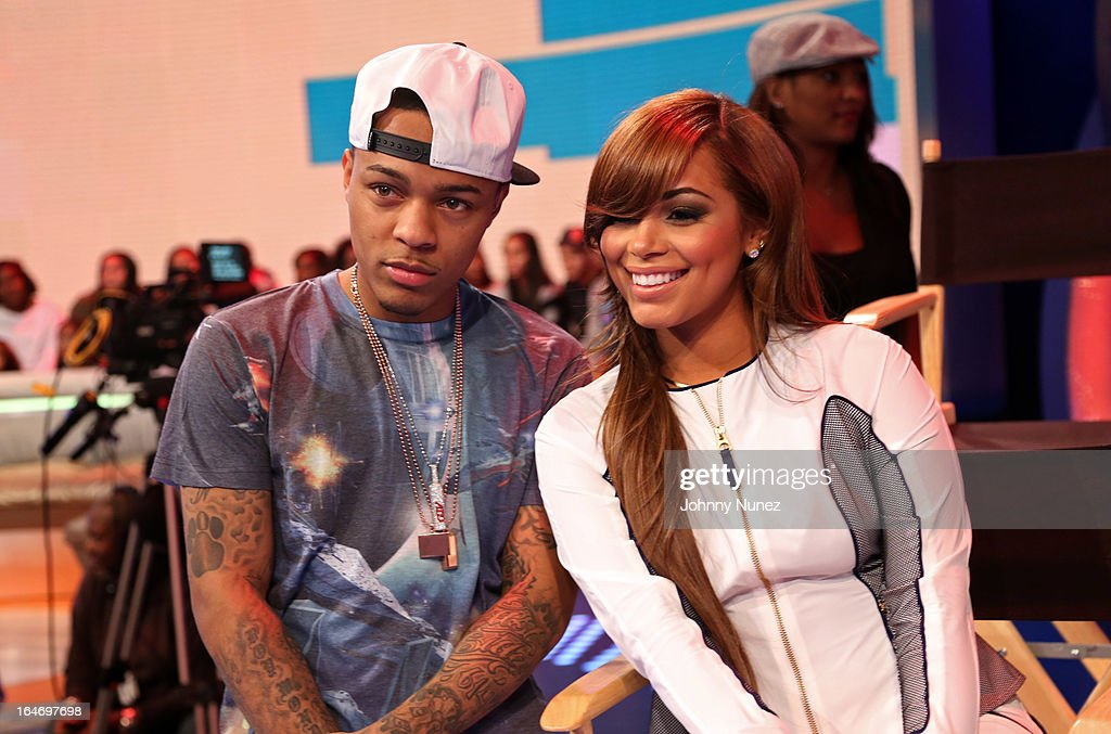 Actress <a gi-track='captionPersonalityLinkClicked' href=/galleries/search?phrase=Lauren+London&family=editorial&specificpeople=629462 ng-click='$event.stopPropagation()'>Lauren London</a> (r) visits BET's '106 & Park' with host <a gi-track='captionPersonalityLinkClicked' href=/galleries/search?phrase=Bow+Wow+-+Rapper&family=editorial&specificpeople=211211 ng-click='$event.stopPropagation()'>Bow Wow</a> at BET Studios on March 26, 2013, in New York City.