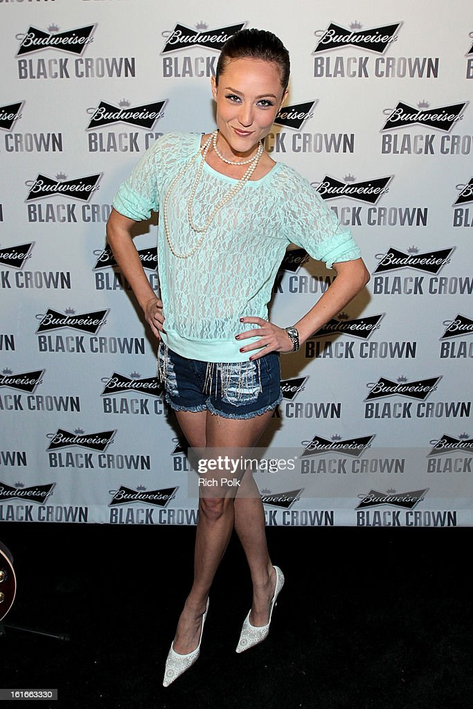 Actress Lauren Mayhew attends the Budweiser Black Crown Launch Party at gibson/baldwin showroom on February 13, 2013 in Los Angeles, California.