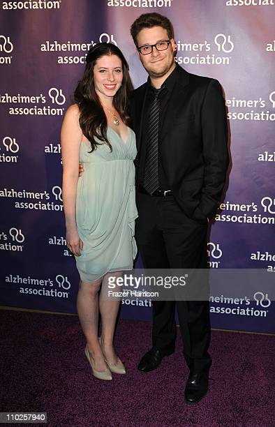 Actress Lauren Miller and actor Seth Rogen arrive at the 19th Annual 'A Night At Sardi's' benefitting the Alzheimer's Association at the Beverly...