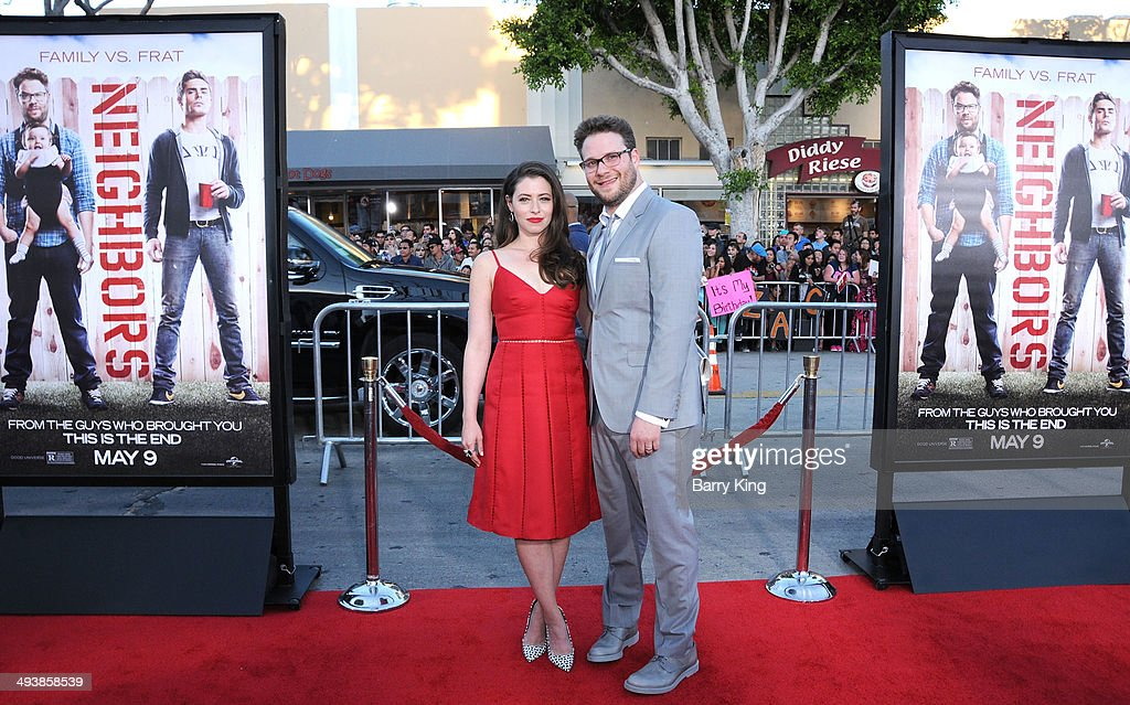 Actress Lauren Miller and actor <a gi-track='captionPersonalityLinkClicked' href=/galleries/search?phrase=Seth+Rogen&family=editorial&specificpeople=3733304 ng-click='$event.stopPropagation()'>Seth Rogen</a> attend the premiere of 'Neighbors' on April 28, 2014 at Regency Village Theatre in Westwood, California.