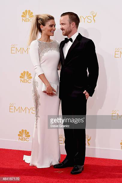 Actress Lauren Parsekian and actor Aaron Paul attend the 66th Annual Primetime Emmy Awards held at Nokia Theatre LA Live on August 25 2014 in Los...