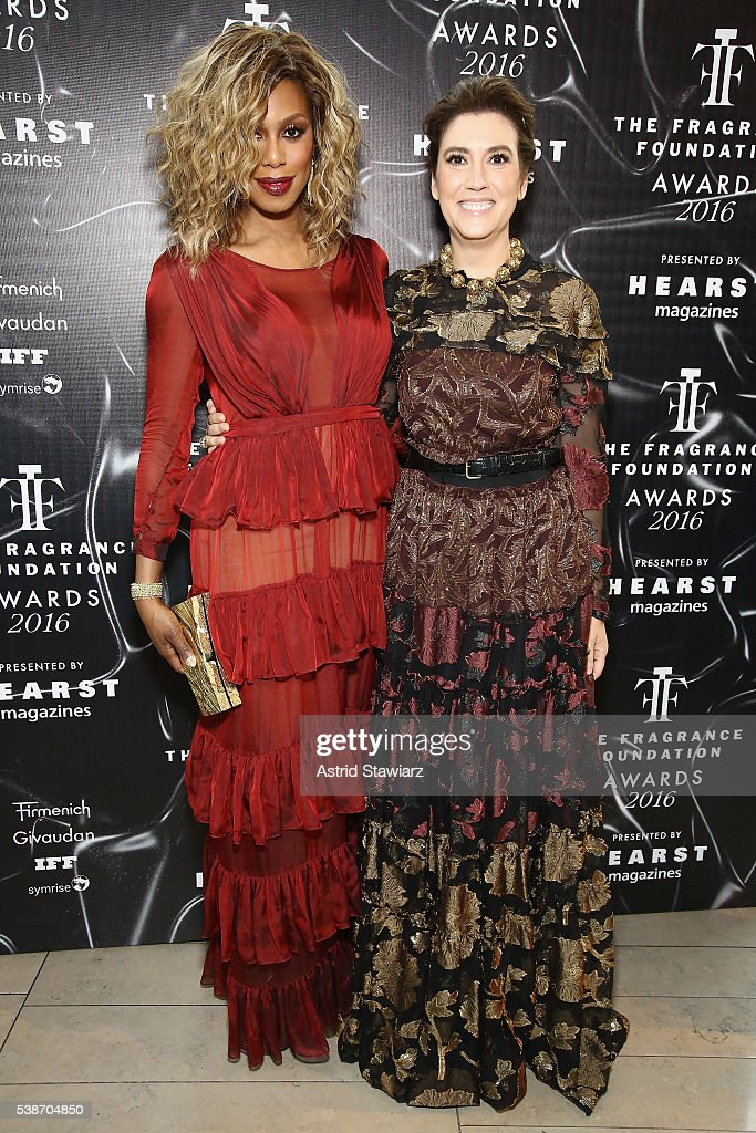 Actress Laverne Cox and fragrance Foundation President Elizabeth Musmanno attend the 2016 Fragrance Foundation Awards presented by Hearst Magazines...