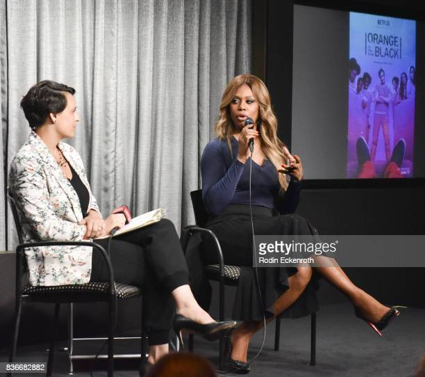 Actress Laverne Cox and New York Magazine's Stacey Wilson Hunt speak onstage at SAGAFTRA Foundation Conversations with 'Orange Is The New Black' at...