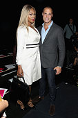 Actress Laverne Cox and photographer Nigel Barker pose at Georgine Spring 2016 during New York Fashion Week The Shows at The Dock Skylight at...