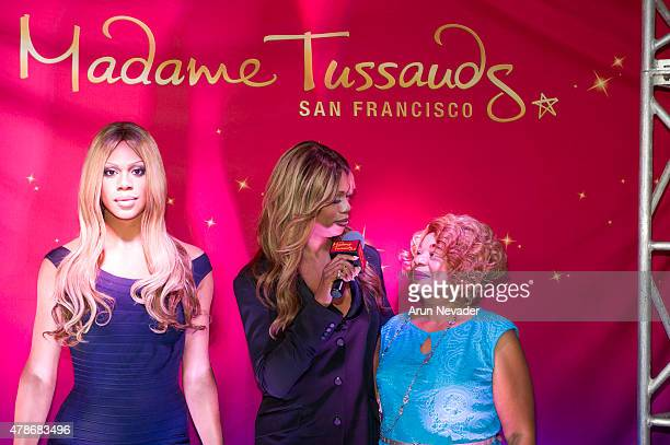 Actress Laverne Cox appears with her mother at the unveiling of the Laverne Cox wax model at Madame Tussauds San Francisco on June 26 2015 in San...