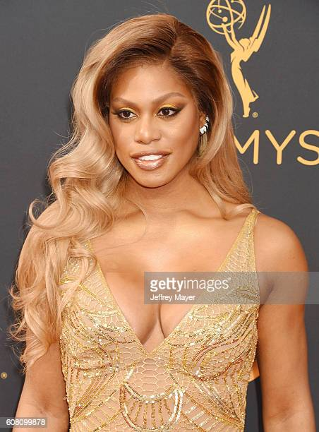 Actress Laverne Cox arrives at the 68th Annual Primetime Emmy Awards at Microsoft Theater on September 18 2016 in Los Angeles California
