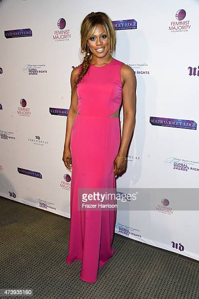 Actress Laverne Cox arrives at The Feminist Majority Foundation's 10th Annual Global Women's Rights Awards with Urban decay Honoering Shonda Rhimes...