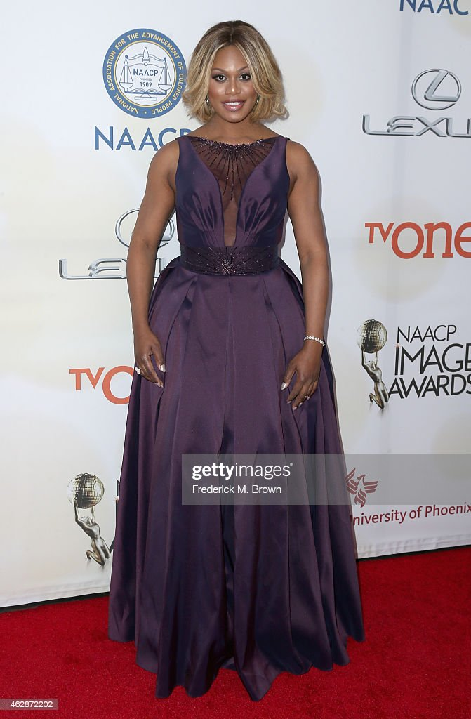 Actress Laverne Cox attends the 46th NAACP Image Awards presented by TV One at Pasadena Civic Auditorium on February 6 2015 in Pasadena California