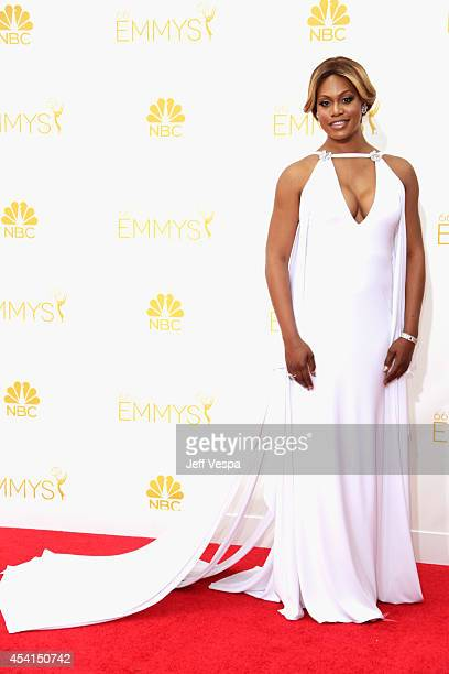 Actress Laverne Cox attends the 66th Annual Primetime Emmy Awards held at Nokia Theatre LA Live on August 25 2014 in Los Angeles California