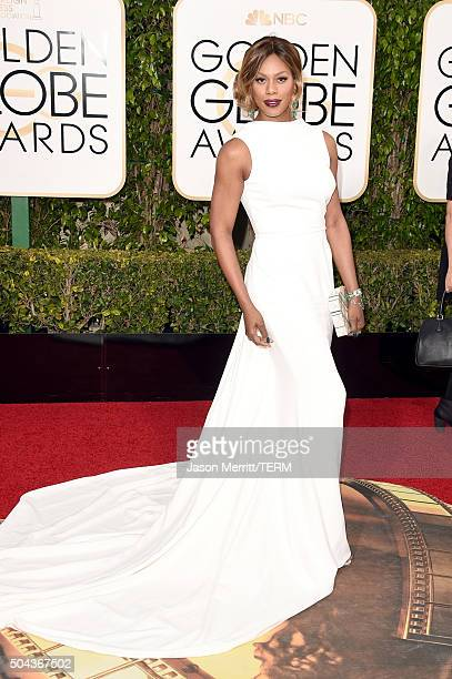Actress Laverne Cox attends the 73rd Annual Golden Globe Awards held at the Beverly Hilton Hotel on January 10 2016 in Beverly Hills California