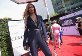 Actress Laverne Cox attends the Cover Girl Glam Stage during the 2015 BET Awards at the Microsoft Theater on June 28 2015 in Los Angeles California
