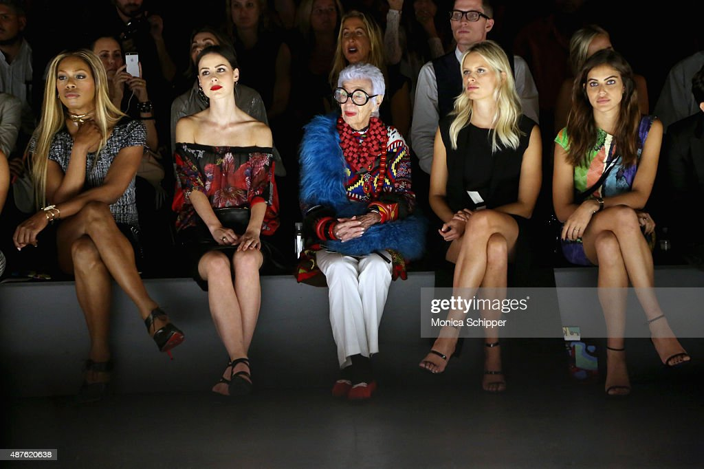 Actress Laverne Cox businesswoman Iris Apfel and model Karolina Kurkova attend the Desigual fashion show during Spring 2016 New York Fashion Week The...