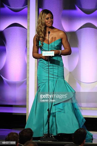 Actress Laverne Cox onstage during the 25th Annual GLAAD Media Awards at The Beverly Hilton Hotel on April 12 2014 in Beverly Hills California
