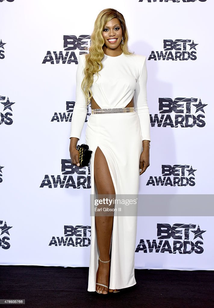 Actress Laverne Cox poses in the press room during the 2015 BET Awards at the Microsoft Theater on June 28 2015 in Los Angeles California
