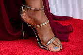 Actress Laverne Cox shoe detail attends the 22nd Annual Screen Actors Guild Awards at The Shrine Auditorium on January 30 2016 in Los Angeles...