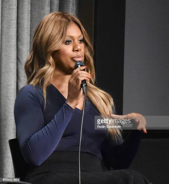 Actress Laverne Cox speaks onstage at SAGAFTRA Foundation Conversations with 'Orange Is The New Black' at SAGAFTRA Foundation Screening Room on...