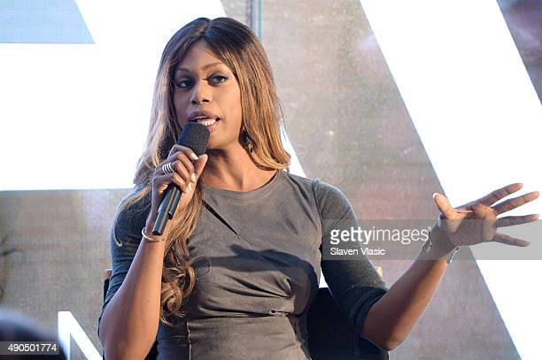 Actress Laverne Cox speaks onstage at the Viacom Leadership Breakfast The Attention Experience panel presented by Viacom during Advertising Week 2015...