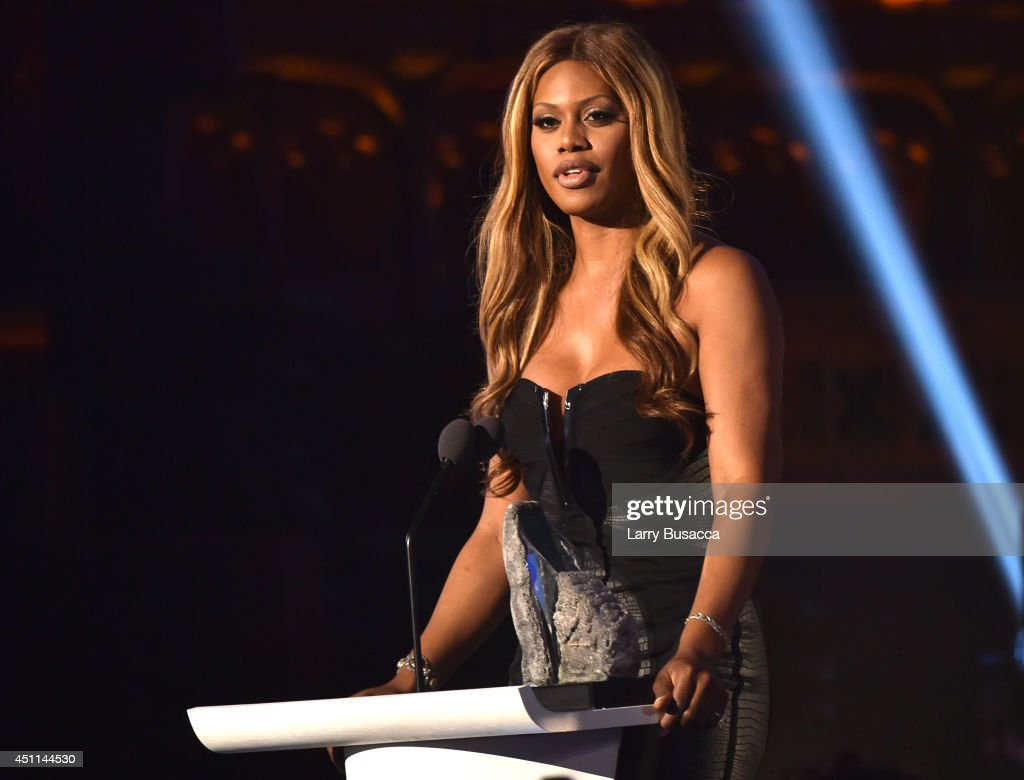 Actress <a gi-track='captionPersonalityLinkClicked' href=/galleries/search?phrase=Laverne+Cox&family=editorial&specificpeople=5848606 ng-click='$event.stopPropagation()'>Laverne Cox</a> speaks onstage during Logo TV's 'Trailblazers' at the Cathedral of St. John the Divine on June 23, 2014 in New York City.