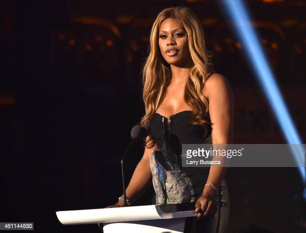 Actress Laverne Cox speaks onstage during Logo TV's 'Trailblazers' at the Cathedral of St John the Divine on June 23 2014 in New York City