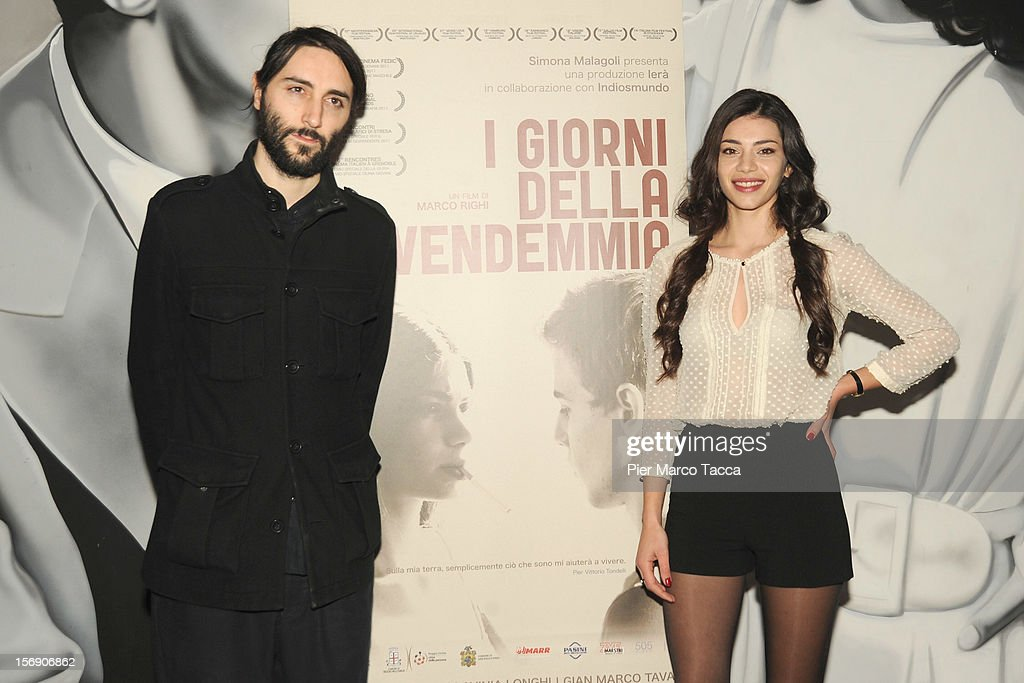 Actress Lavinia Longhi and Director Marco Righi attend 'I Giorni della Vendemmia' photocall at Cinema Mexico on November 24, 2012 in Milan, Italy.