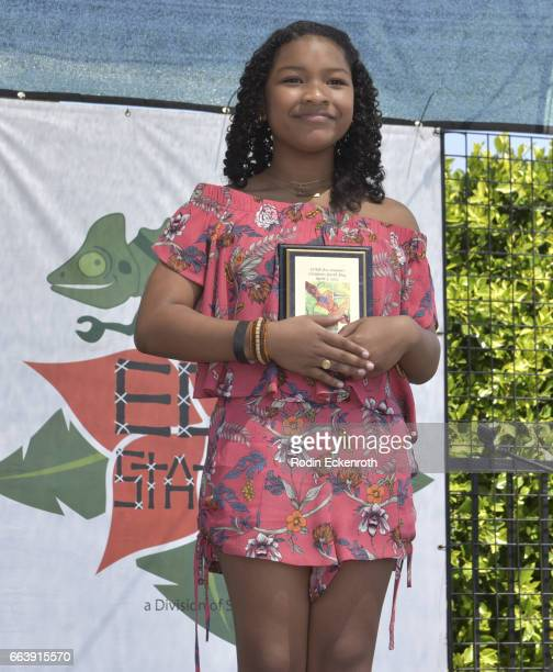Actress Laya Deleon Hayes receives award onstage at 17th Annual Children's Earth Day Extravaganza at Star Eco Station on April 2 2017 in Culver City...