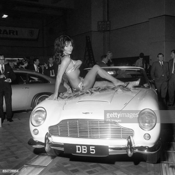 Actress Laya Raki and the Aston martin DB5 were eye catchers at the London Motor Show at Earls Court