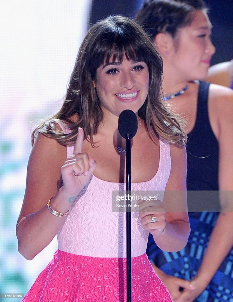 Actress Lea Michele accepts Choice TV Show: Comedy award for 'Glee' onstage during the Teen Choice Awards 2013 at Gibson Amphitheatre on August 11, 2013 in Universal City, California.