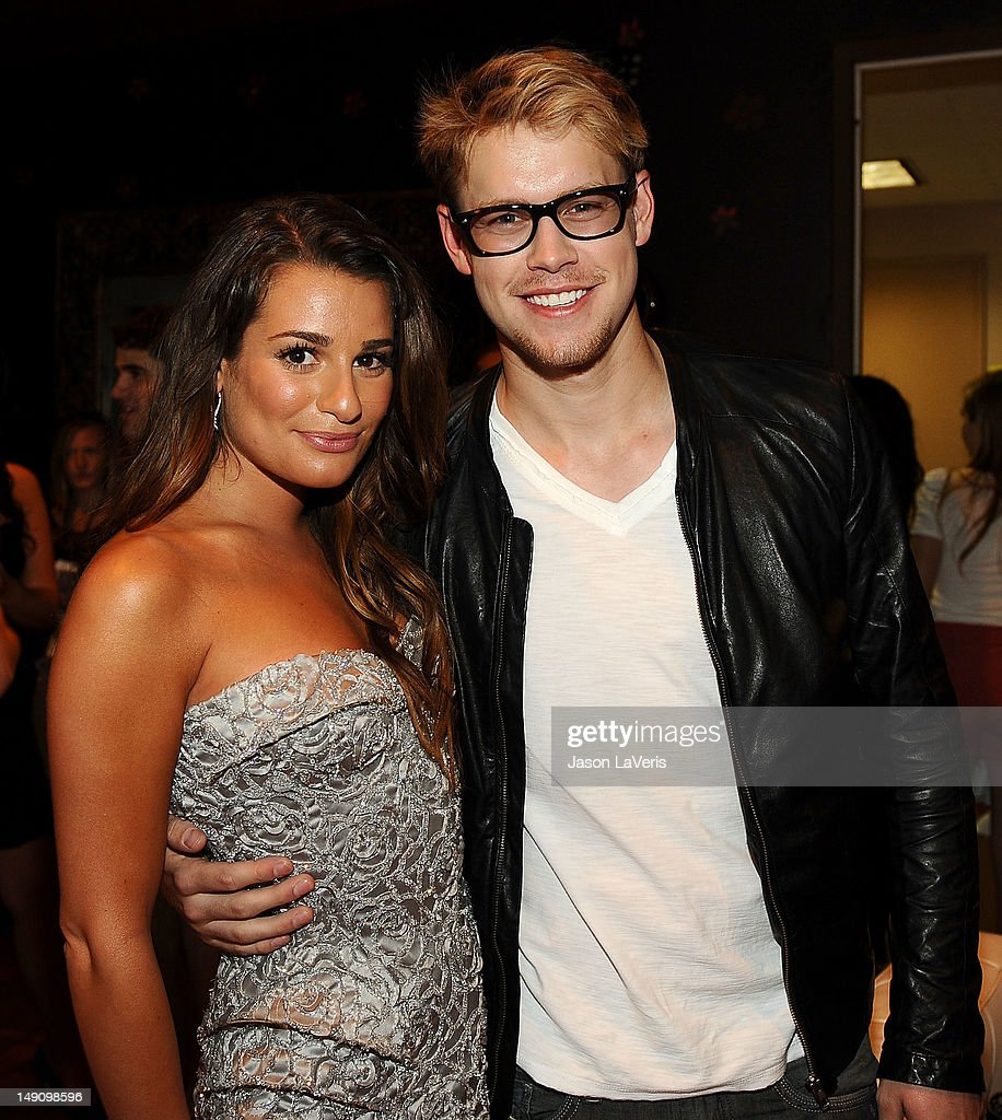 Actress Lea Michele and actor Chord Overstreet pose in the green room at the 2012 Teen Choice Awards at Gibson Amphitheatre on July 22, 2012 in Universal City, California.