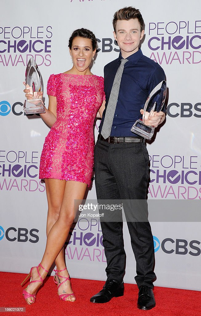 Actress Lea Michele and actor Chris Colfer pose in the pressroom at the 2013 People's Choice Awards at Nokia Theatre L.A. Live on January 9, 2013 in Los Angeles, California.