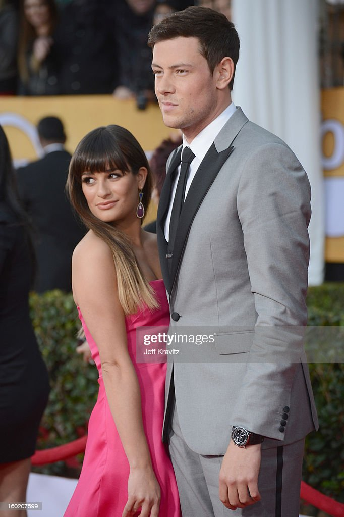 Actress Lea Michele and actor Cory Monteith arrive at the 19th Annual Screen Actors Guild Awards held at The Shrine Auditorium on January 27, 2013 in Los Angeles, California.