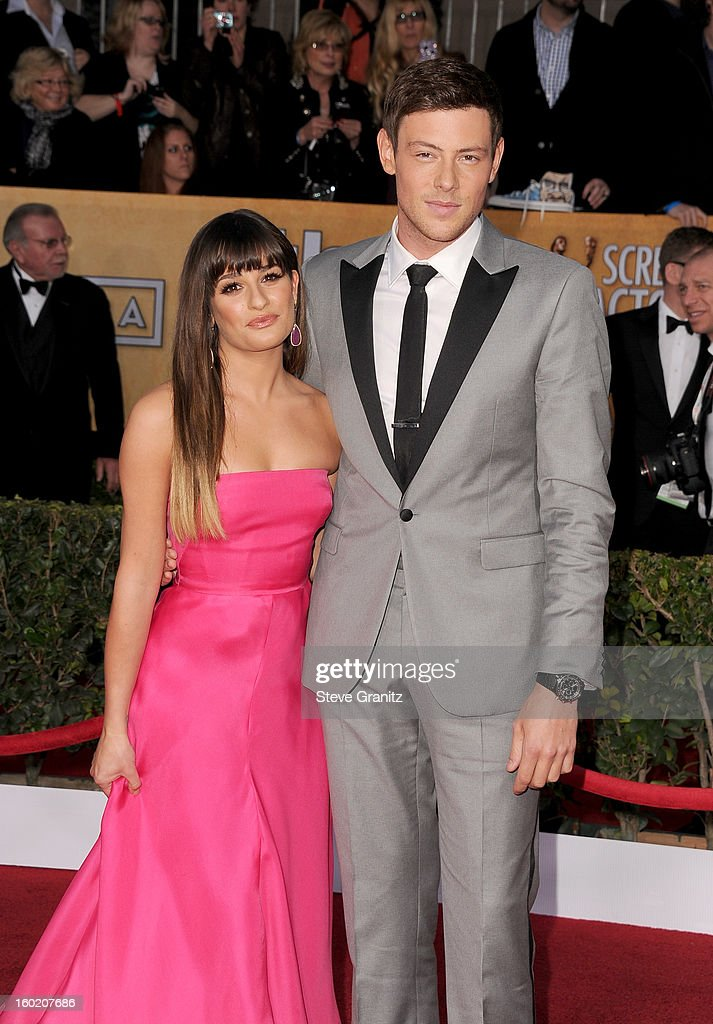 Actress Lea Michele (L) and actor Cory Monteith arrive at the 19th Annual Screen Actors Guild Awards held at The Shrine Auditorium on January 27, 2013 in Los Angeles, California.