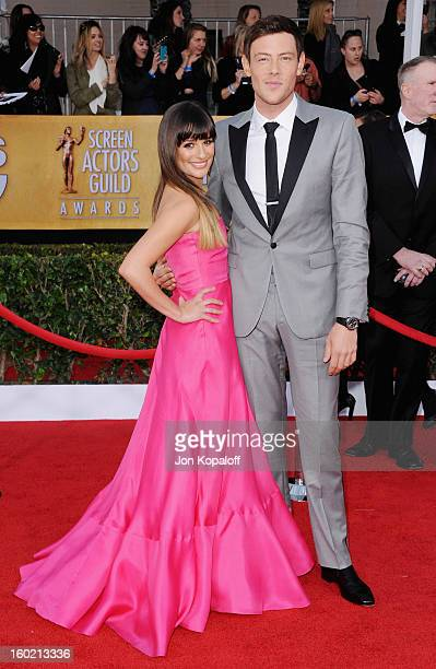 Actress Lea Michele and actor Cory Monteith arrive at the 19th Annual Screen Actors Guild Awards at The Shrine Auditorium on January 27 2013 in Los...