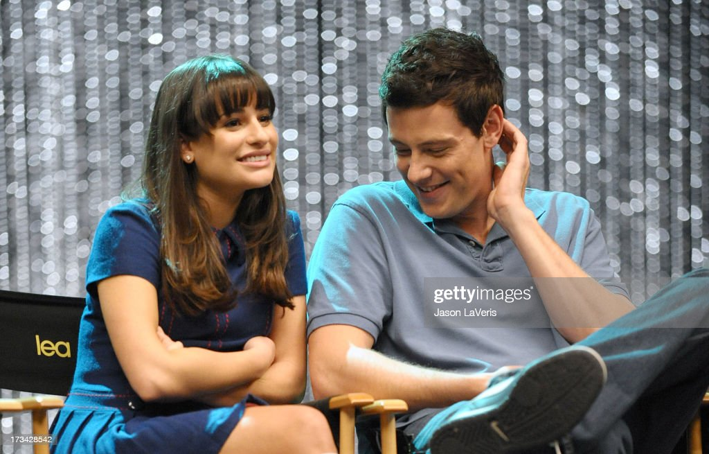 Actress <a gi-track='captionPersonalityLinkClicked' href=/galleries/search?phrase=Lea+Michele&family=editorial&specificpeople=566514 ng-click='$event.stopPropagation()'>Lea Michele</a> and actor <a gi-track='captionPersonalityLinkClicked' href=/galleries/search?phrase=Cory+Monteith&family=editorial&specificpeople=4491048 ng-click='$event.stopPropagation()'>Cory Monteith</a> attend the 'GLEE' 300th musical performance special taping at Paramount Studios on October 26, 2011 in Hollywood, California.