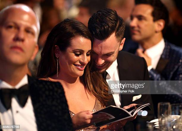 Actress Lea Michele and Matthew Paetz attend amfAR LA Inspiration Gala honoring Tom Ford at Milk Studios on October 29 2014 in Hollywood California