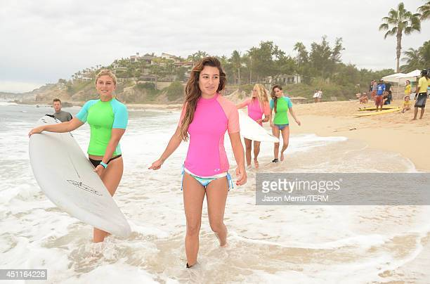 Actress Lea Michele and professional Oakley surfer Sage Erickson attend the Oakley Learn To RideSurf In Cabo San Lucas on June 23 2014 in Cabo San...