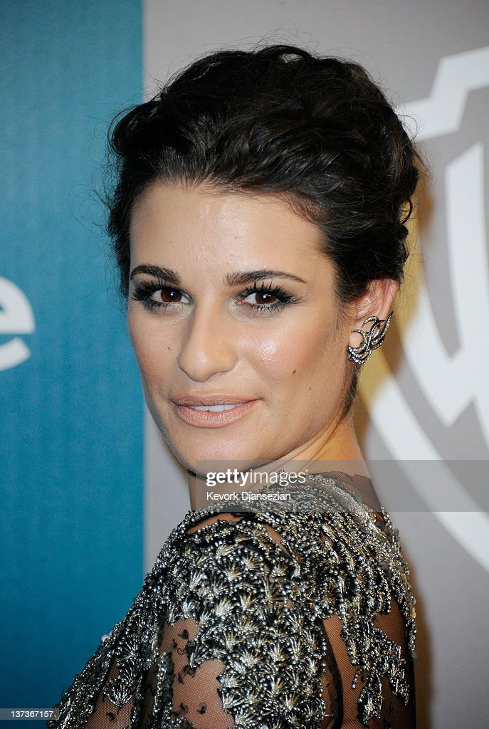 Actress <a gi-track='captionPersonalityLinkClicked' href=/galleries/search?phrase=Lea+Michele&family=editorial&specificpeople=566514 ng-click='$event.stopPropagation()'>Lea Michele</a> arrives at 13th Annual Warner Bros. And InStyle Golden Globe Awards After Party at The Beverly Hilton hotel on January 15, 2012 in Beverly Hills, California.
