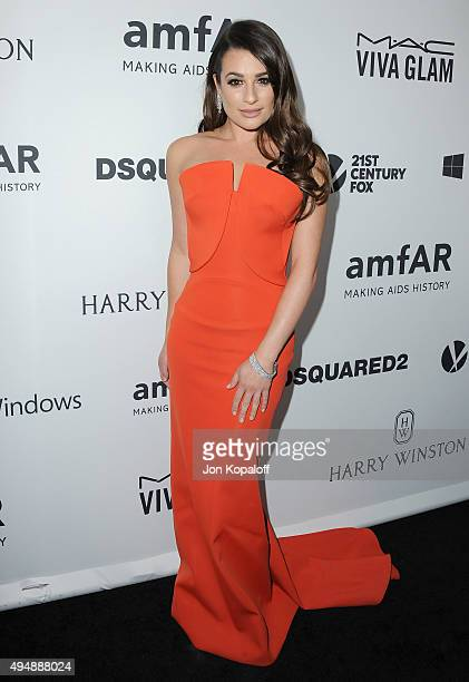 Actress Lea Michele arrives at amfAR's Inspiration Gala Los Angeles at Milk Studios on October 29 2015 in Hollywood California