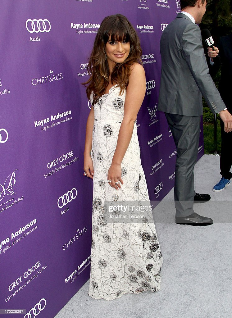 Actress <a gi-track='captionPersonalityLinkClicked' href=/galleries/search?phrase=Lea+Michele&family=editorial&specificpeople=566514 ng-click='$event.stopPropagation()'>Lea Michele</a> arrives at the 12th Annual Chrysalis Butterfly Ball on June 8, 2013 in Los Angeles, California.