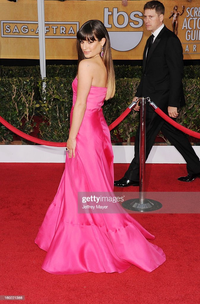Actress Lea Michele arrives at the 19th Annual Screen Actors Guild Awards at The Shrine Auditorium on January 27, 2013 in Los Angeles, California.