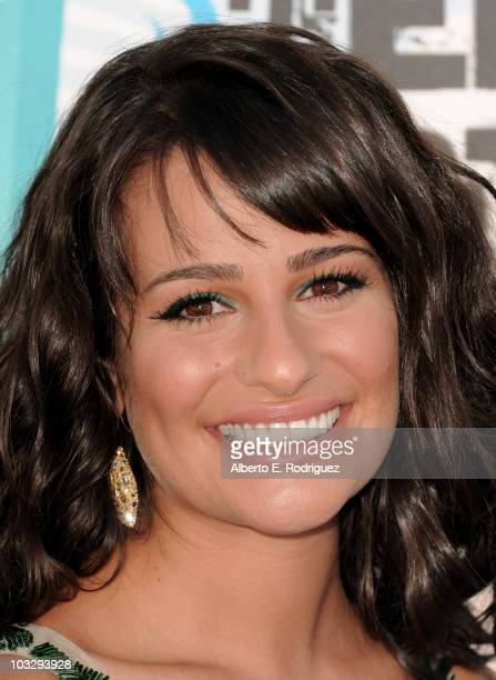 Actress Lea Michele arrives at the 2010 Teen Choice Awards at Gibson Amphitheatre on August 8 2010 in Universal City California